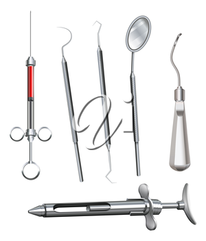 Illustration of the different dental instruments on a white background
