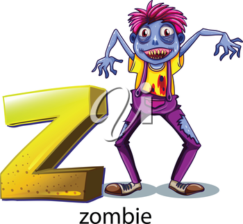 Illustration of a letter Z for zombie on a white background