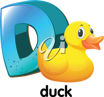 Illustration of a letter D for duck on a white background