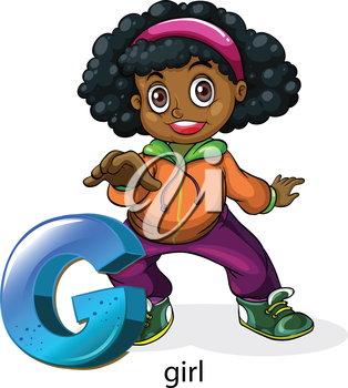 Illustration of a letter G for girl on a white background