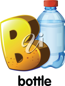 Illustration of a letter B for bottle on a white background