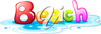 Illustration of a beach artwork on a white background