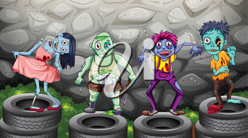 Illustration of a group of zombies