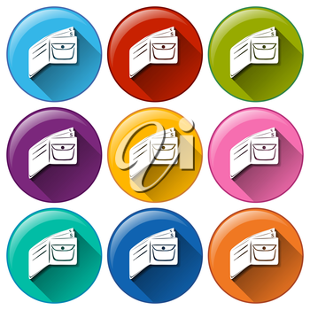 Illustration of the round buttons with wallets on a white background