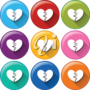 Illustration of the round buttons with broken hearts on a white background