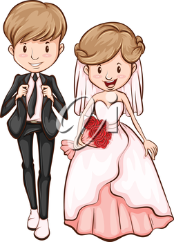 Illustration of a sketch of a happy couple on a white background