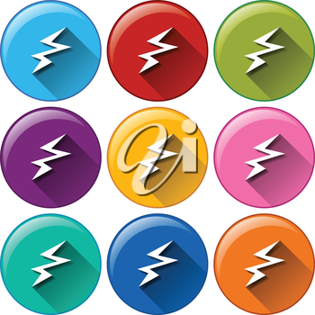 Illustration of the icons with a battery charging sign on a white background