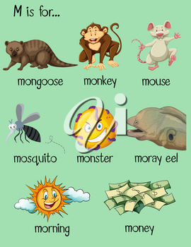 Many words begin with letter M illustration