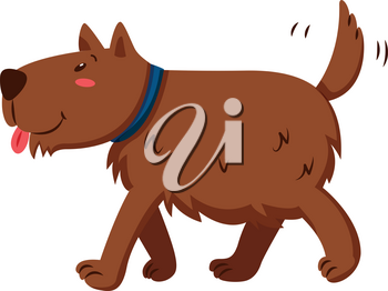 Brown dog wagging its tail illustration