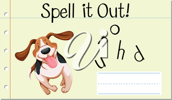 Spell english word  hound illustration