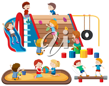 Group of people kids at playground illustration