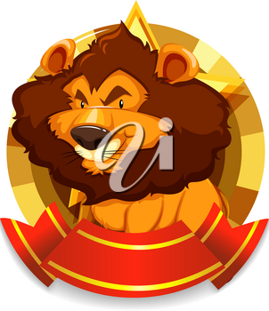 Banner template with wild lion illustration