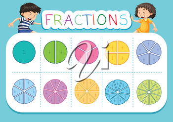 Mathematics fraction worksheet background illustration