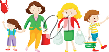 Mother and kid go shopping illustration