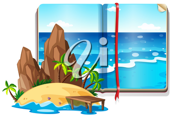 Scene with ocean and island illustration