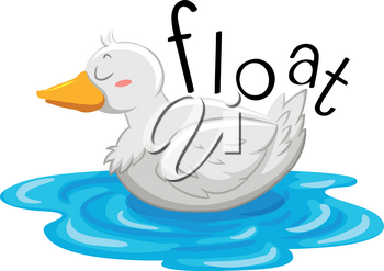 Little duck floating on the water illustration