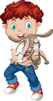 Little boy holding a puppy illustration