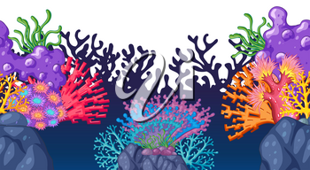 Seamless coral reef under the ocean illustration