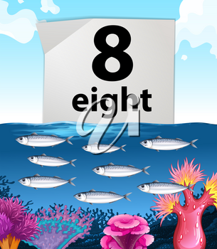 Number eight and eight fish swimming underwater illustration