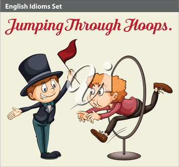 An English idiom about a man jumping through the hoops