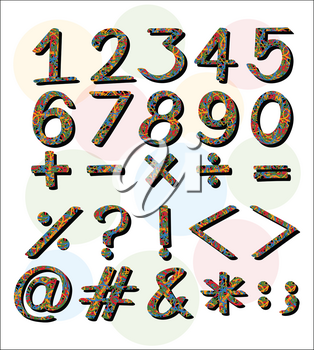 Numbers and symbols on white background