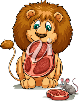 A lion sharing his food idiom on a white background