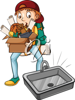 A boy carrying a box near the sink on a white background