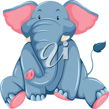 Young blue elephant on a white background