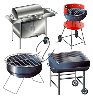 Grilling sets on a white background
