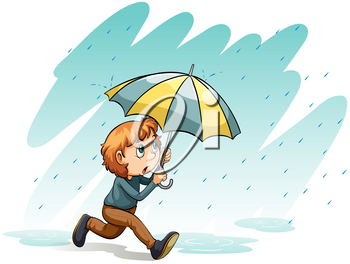 An idiom showing a heavy rain on a white background