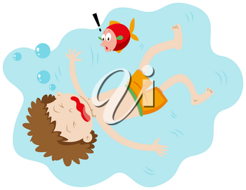 Little boy drowning under the water illustration
