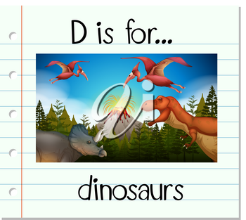Flashcard letter D is for dinosaurs illustration