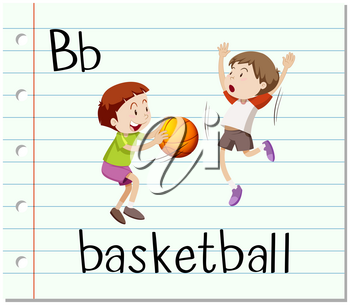 Letter B is for basketball illustration
