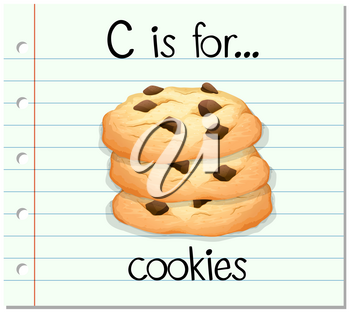 Flashcard letter C is for cookies illustration