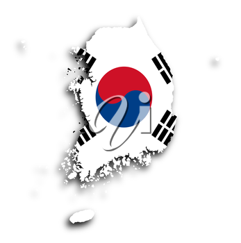 Map of South Korea with flag inside, isolated
