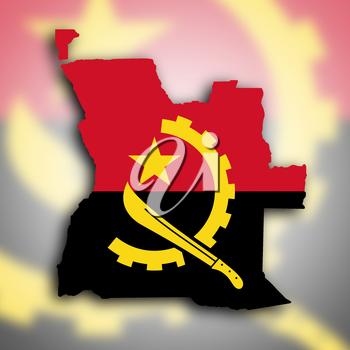 Country shape outlined and filled with the flag, Angola
