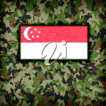 Amy camouflage uniform with flag on it, Singapore