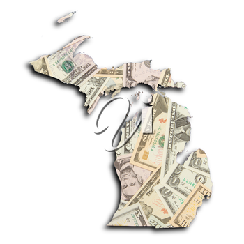 Map of Michigan, filled with US dollars