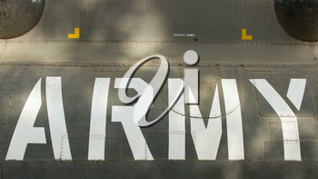 Text on an old Vietnam war Airplane displayed in Saigon (Vietnam)