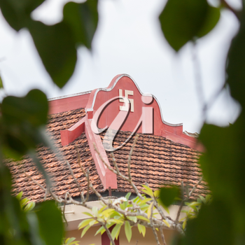 Swastika symbol on top of a temple in Vietnam (Nha Trang)