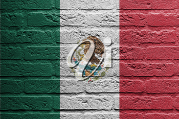 Brick wall with a painting of a flag isolated, Mexico