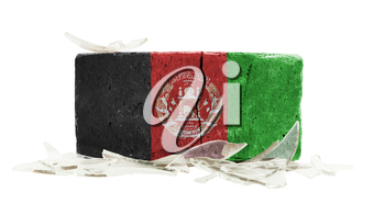 Brick with broken glass, violence concept, flag of Afghanistan