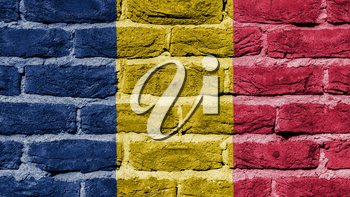 Very old brick wall texture, flag of Chad