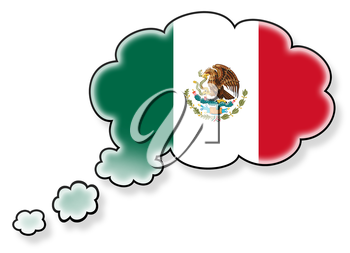 Flag in the cloud, isolated on white background, flag of Mexico