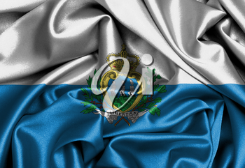 Satin flag, three dimensional render, flag of San Marino