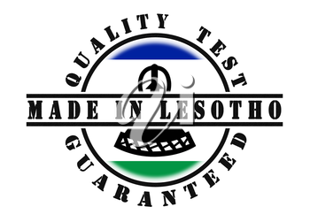 Quality test guaranteed stamp with a national flag inside, Lesotho