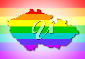 Map, filled with a rainbow flag pattern - Czech Republic