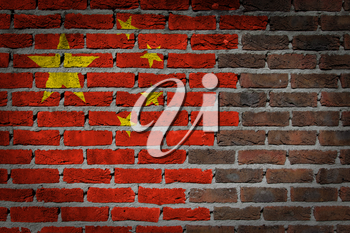 Dark brick wall texture - flag painted on wall - China