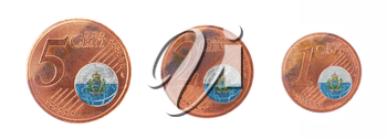 European union concept - 1, 2 and 5 eurocent, flag of San Marino