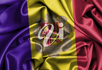 Satin flag, printed with the flag of Andorra